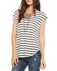 Chaser - Black Striped Double V Linen T-Shirt - Lyst