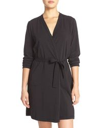 DKNY   Black Stretch Pima Cotton Short Robe   Lyst