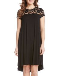 Karen Kane | Black Lace Yoke Cap Sleeve Swing Dress | Lyst