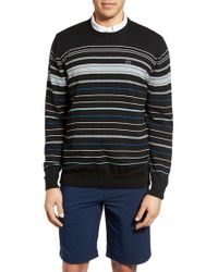 Travis Mathew - Black 'bulkhead' Stripe Crewneck Golf Sweater for Men - Lyst