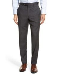 JB Britches - Black Torino Flat Front Solid Wool Trousers for Men - Lyst