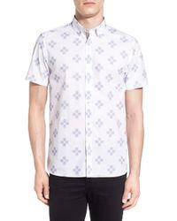 Ted Baker - White 'hardcor' Modern Slim Fit Print Short Sleeve Sport Shirt for Men - Lyst