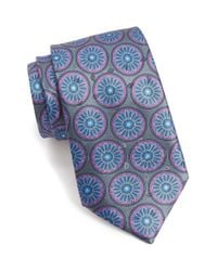 Ermenegildo Zegna - Gray Floral Medallion Silk Tie for Men - Lyst