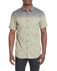 Howe - Gray 'berlin' Stripe Cotton & Linen Short Sleeve Shirt for Men - Lyst