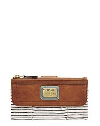Fossil | Brown 'emory' Flap Clutch Wallet | Lyst