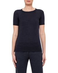 Akris Punto - Blue Button Detail Knit Wool Top - Lyst