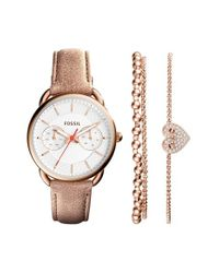 Fossil - Natural 'tailor' Multifunction Leather Strap Watch & Bracelet Box Set - Lyst