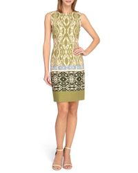 Tahari - Multicolor Ikat Print Linen Blend Sheath Dress - Lyst
