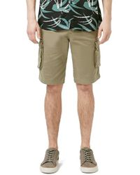 TOPMAN - Green Washed Cargo Shorts for Men - Lyst