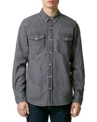 TOPMAN - Gray Denim Western Shirt for Men - Lyst