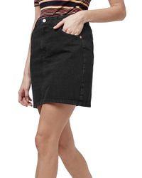 TOPSHOP - Black High Waisted Denim Mini Skirt - Lyst