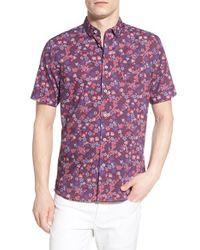 Descendant Of Thieves - Purple 'fiore' Trim Fit Short Sleeve Floral Print Woven Shirt for Men - Lyst