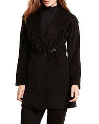 Lauren by Ralph Lauren | Black Fringe Trim Wrap Coat | Lyst