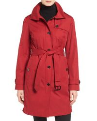 MICHAEL Michael Kors | Red Hooded Trench Coat | Lyst