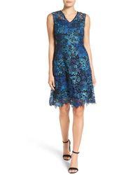 T Tahari | Blue 'elora' A-line Lace Dress | Lyst