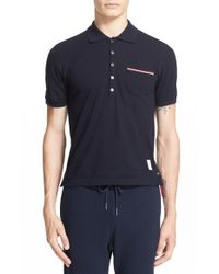 Thom Browne - Blue Mercerized Cotton Pique Polo for Men - Lyst