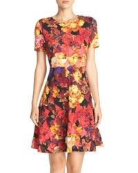 Eci | Multicolor Floral Print Fit & Flare Dress | Lyst