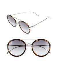 Fendi | Metallic 51mm Round Aviator Sunglasses - Havana/ Gold | Lyst