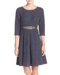 Eliza J | Gray Embellished Sparkle Knit Fit & Flare Dress | Lyst