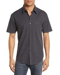 James Campbell - Gray 'opers' Regular Fit Check Short Sleeve Sport Shirt for Men - Lyst