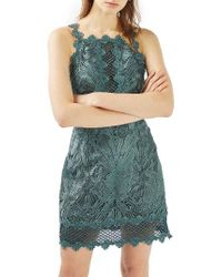 TOPSHOP | Blue Lace Detail Sleeveless A-line Dress | Lyst