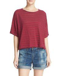 Rag & Bone - Red 'shadow Stripe' Tee - Lyst