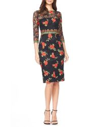 David Meister - Black Embroidered Lace Jersey Sheath Dress - Lyst