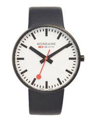 Mondaine | Black 'evo' Leather Strap Watch | Lyst