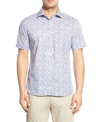 Tocco Toscano - Blue Regular Fit Short Sleeve Print Sport Shirt for Men - Lyst