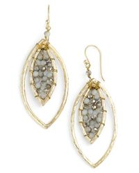 Panacea - Metallic Crystal Marquise Drop Earrings - Lyst