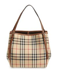 301e9b79dc34 Lyst - Burberry  small Canter  Horseferry Check   Leather Tote in ...