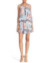 Elizabeth and James - Blue Kenji Floral Print Blouson Silk Dress - Lyst
