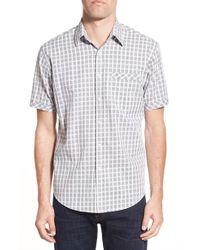 James Campbell - Gray 'greer' Regular Fit Plaid Short Sleeve Sport Shirt for Men - Lyst