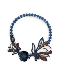 Tory Burch - Blue Abstract Leather & Crystal Necklace - Lyst