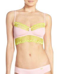 Kensie - Pink 'rachel' Lace Trim Bralette - Lyst