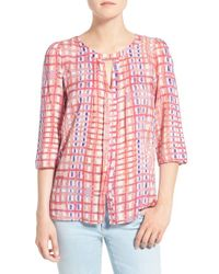 Plenty by Tracy Reese - Pink Print Cutout Top - Lyst