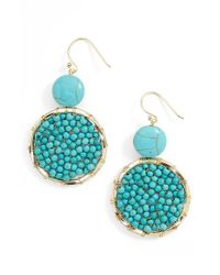 Panacea | Blue Beaded Circle Drop Earrings | Lyst