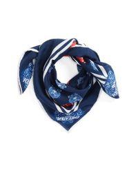 KENZO | Blue 'tiger Bandana' Cotton & Silk Scarf | Lyst