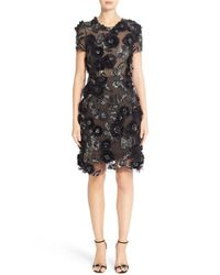 Marchesa | Black Cap Sleeve Tulle Dress With 3d Floral Embellishments | Lyst