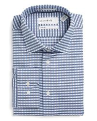 Calibrate | Blue Trim Fit Non-iron Check Stretch Dress Shirt for Men | Lyst