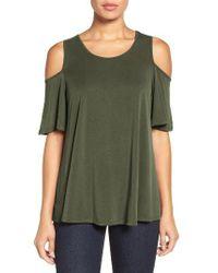 Bobeau | Green Cold Shoulder Flutter Sleeve Top | Lyst