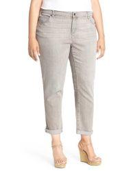 Eileen Fisher - Gray Stretch Organic Cotton Boyfriend Jeans - Lyst
