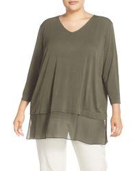 Eileen Fisher - Green V-neck Stretch Silk Jersey Top - Lyst