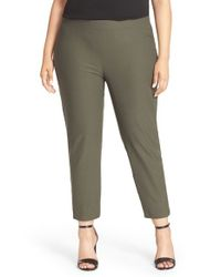 Eileen Fisher - Green Slim Washable Stretch Crepe Pants - Lyst