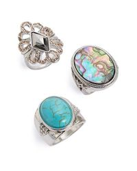 TOPSHOP | Blue Filigree & Cabochon Rings | Lyst