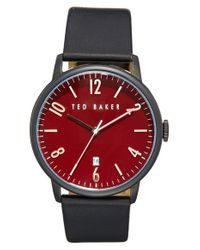 Ted Baker | Red Round Leather Strap Watch for Men | Lyst