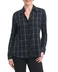 Foxcroft - Black Nicole Windowpane Print Shirt - Lyst