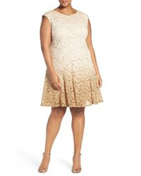 Chetta B | Metallic Ombre Shimmer Lace Fit & Flare Dress | Lyst