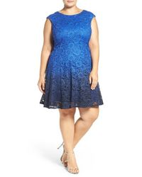 Chetta B | Blue Ombre Shimmer Lace Fit & Flare Dress | Lyst