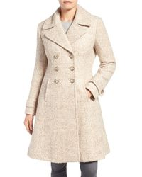 Ivanka Trump | Natural Double Breasted Fit & Flare Coat | Lyst